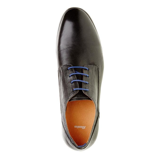 Kožené poltopánky v štýle derby bata, čierna, 824-6605 - 19