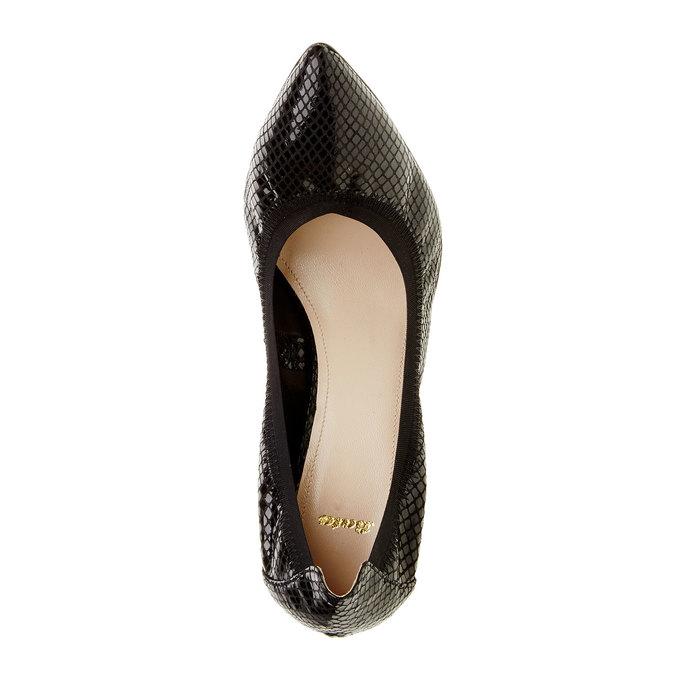 Kožené lodičky na ihličkovom podpätku bata, čierna, 724-6430 - 19
