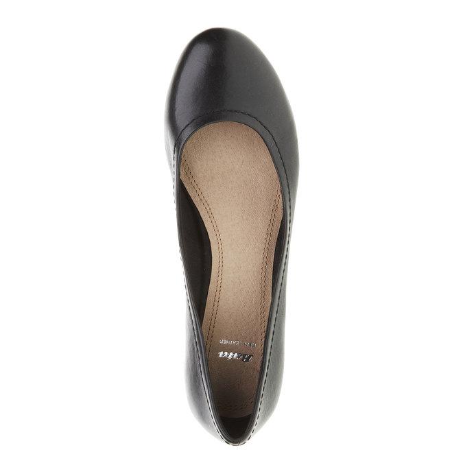 Čierne kožené lodičky bata, čierna, 624-6390 - 19