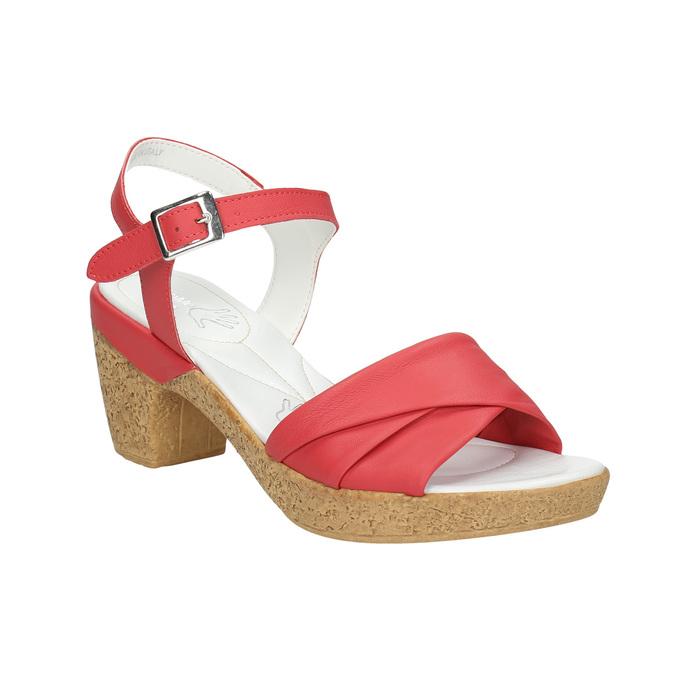 Kožené sandále na nízkom podpätku bata-touch-me, červená, 666-5203 - 13
