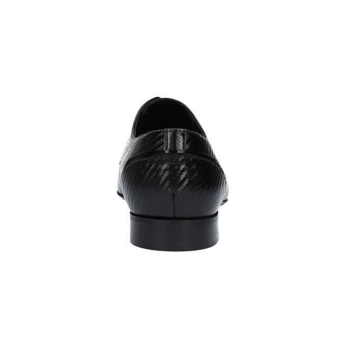 Kožené poltopánky so vzorom conhpol, čierna, 826-6730 - 17