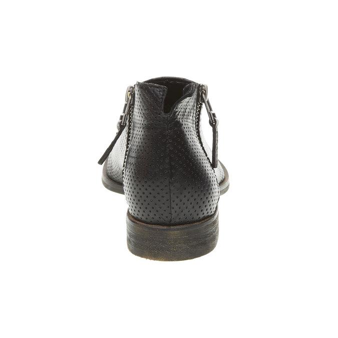 Kožené členkové čižmy s perforáciou bata, čierna, 594-6400 - 17