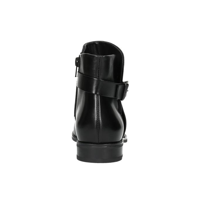 Kožená členková obuv s prackou bata, čierna, 594-6602 - 17