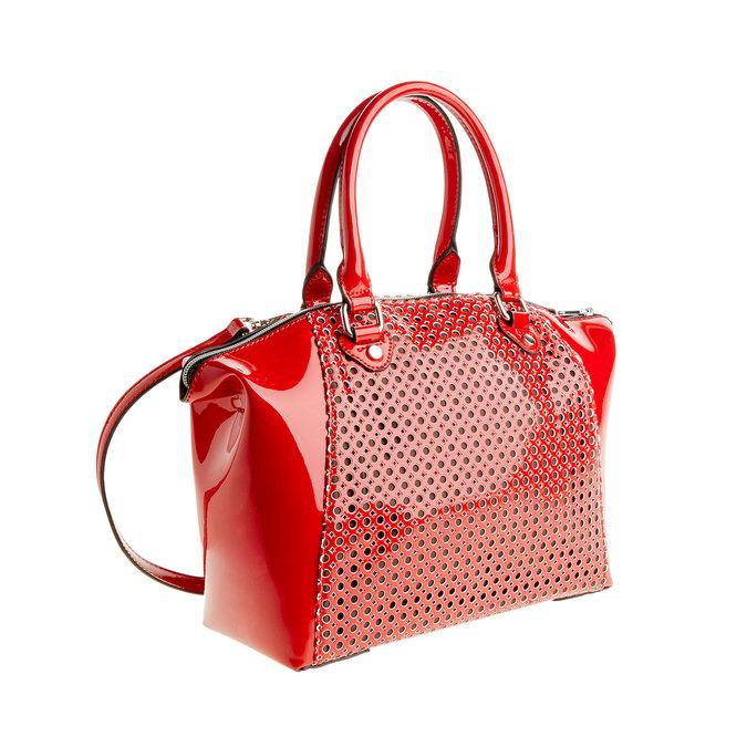 Červená lesklá kabelka bata, červená, 961-5796 - 13