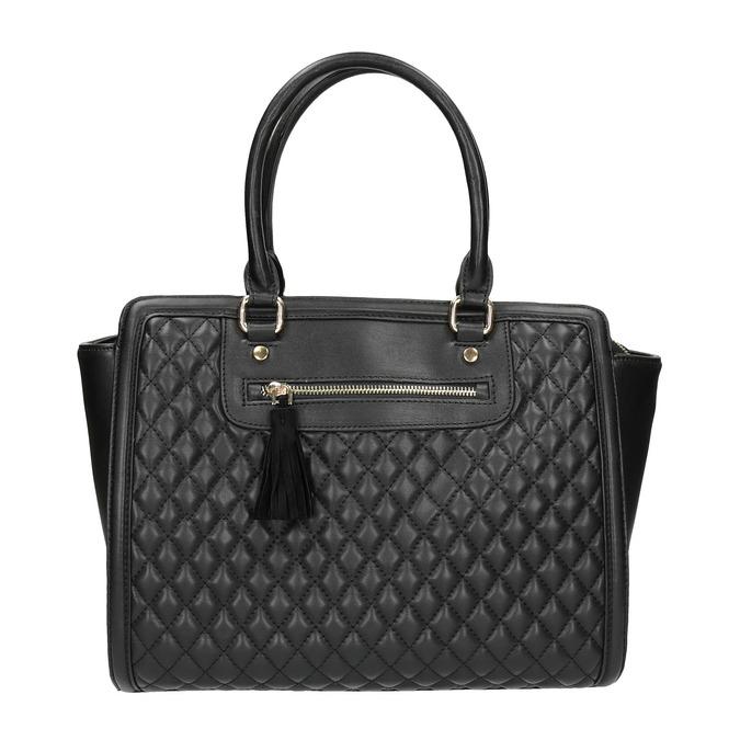 Shopper kabelka s prešíváním a strapcom bata, čierna, 961-6287 - 26