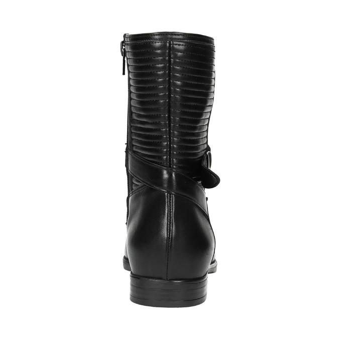 Dámska členková obuv s prešívaním bata, čierna, 594-6616 - 17