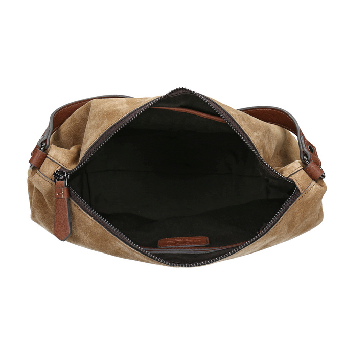 Kožená kabelka s prešitím bata, hnedá, 963-3130 - 15