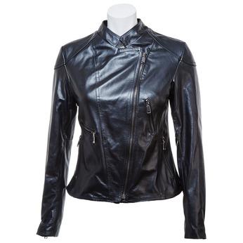 Dámska kožená bunda so zipsom bata, čierna, 974-6162 - 13