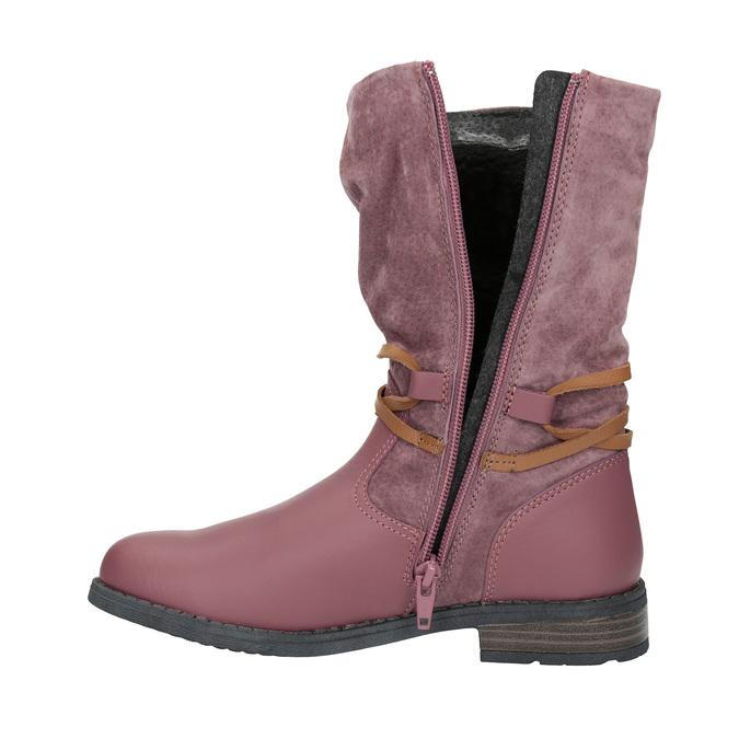 Kožené dievčenské čižmy mini-b, ružová, 394-5100 - 19