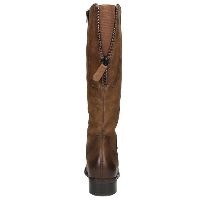 Hnedé kožené čižmy bata, hnedá, 596-4604 - 17