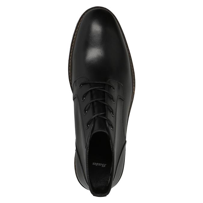 Kožená členková obuv v štýle Chukka Boots bata, čierna, 824-6677 - 19