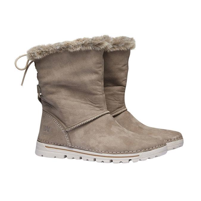 Dámske zimné topánky s kožúškom weinbrenner, béžová, 596-2334 - 26