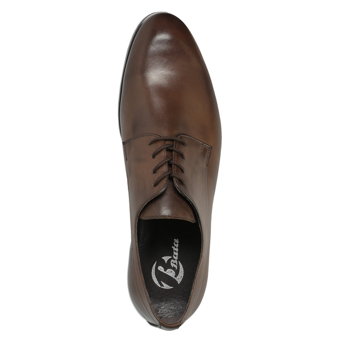 Hnedé kožené poltopánky bata, hnedá, 824-4711 - 19