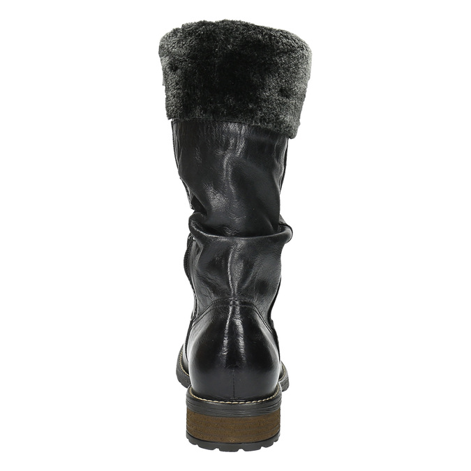 Dámske kožené čižmy so zateplením bata, čierna, 594-6612 - 17
