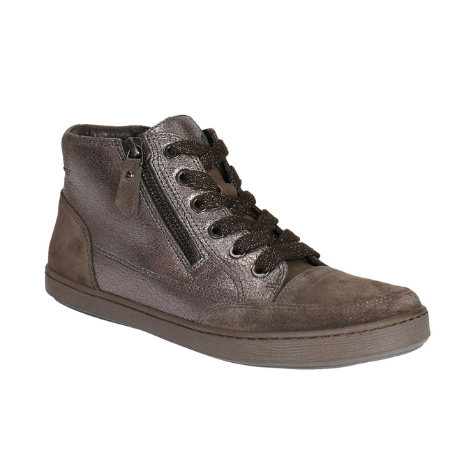 Dámske kožené členkové tenisky bata, hnedá, 596-4613 - 13