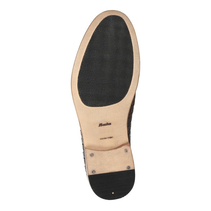 Celokožené poltopánky s pleteným vzorom bata, hnedá, 826-3775 - 26