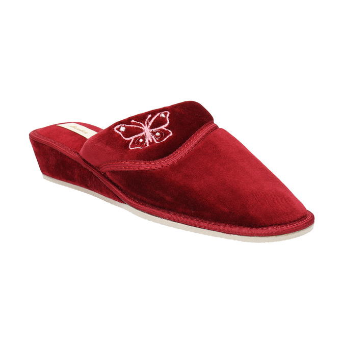 Dámska domáca obuv na klínovom podpätku bata, červená, 679-5607 - 13
