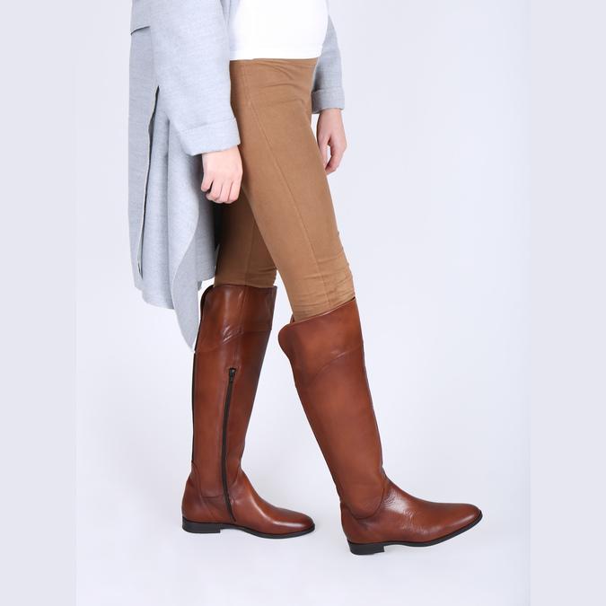 Hnedé kožené čižmy ku kolenám bata, hnedá, 594-4605 - 18