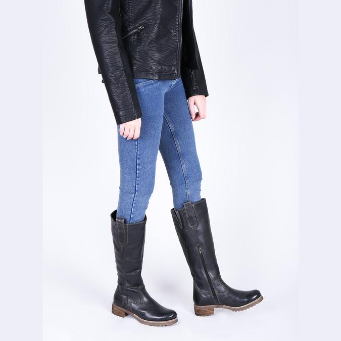 Kožené čižmy s masivnou podrážkou bata, čierna, 594-6613 - 18