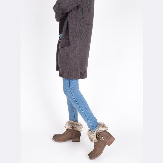 Dámska členková obuv s kožúškom bata, hnedá, 591-4601 - 18