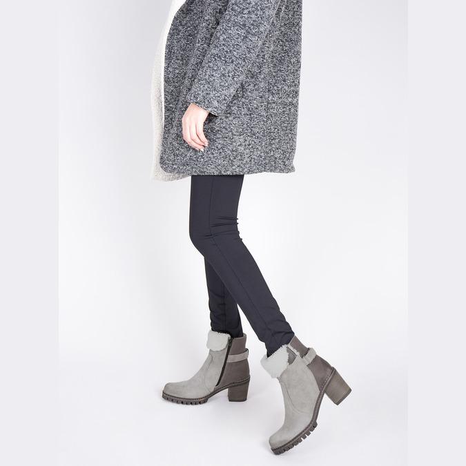 Kožená členková obuv s kožúškom manas, šedá, 696-2602 - 18