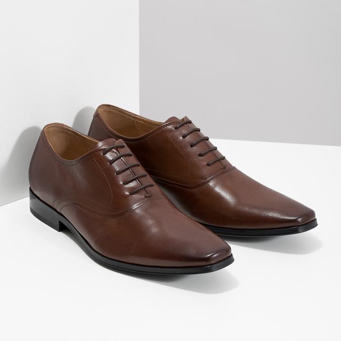 Hnedé kožené Oxford poltopánky bata, hnedá, 826-3808 - 26