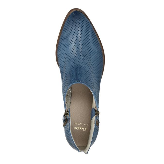 Kožené členkové čižmy s perforáciou bata, modrá, 596-9647 - 19
