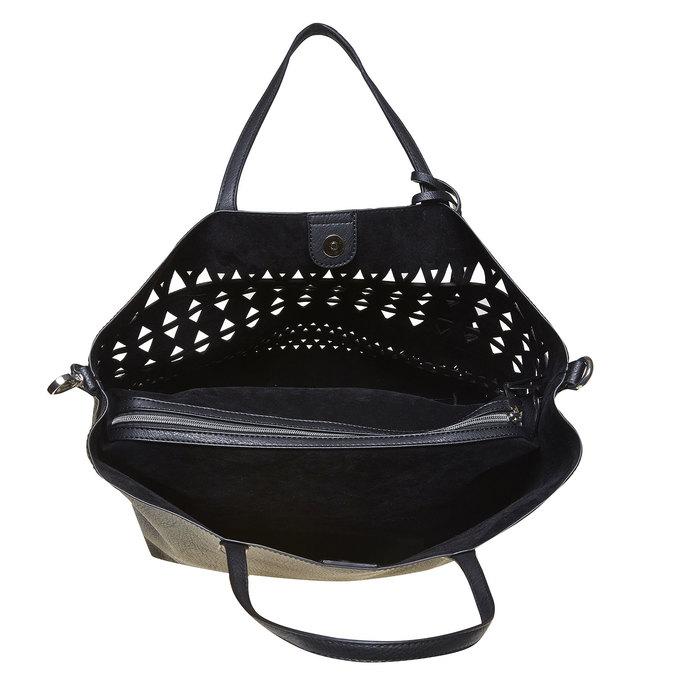 Dámska kabelka s perforáciou bata, čierna, 961-6274 - 15