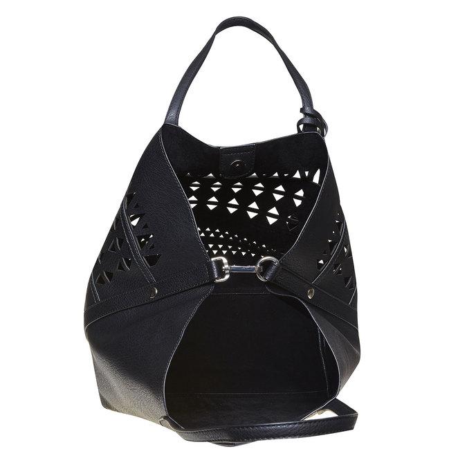 Dámska kabelka s perforáciou bata, čierna, 961-6274 - 19