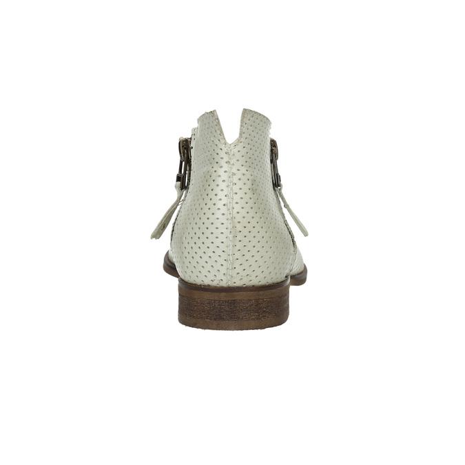 Kožené členkové čižmy s perforáciou bata, biela, 596-1647 - 17