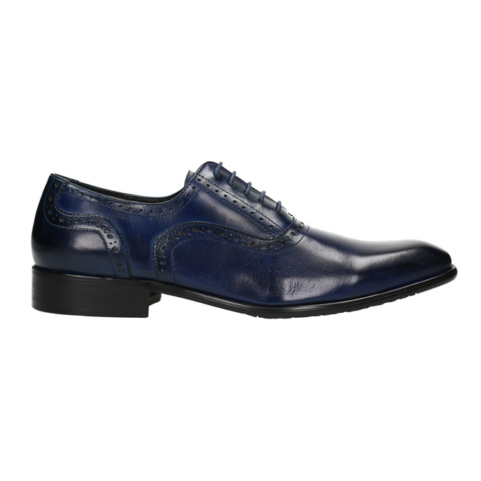 Modré kožené Oxford poltopánky bata, modrá, 826-9822 - 15