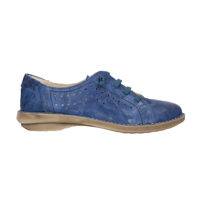 Modré kožené poltopánky v ležérnom štýle bata, modrá, 526-9624 - 15