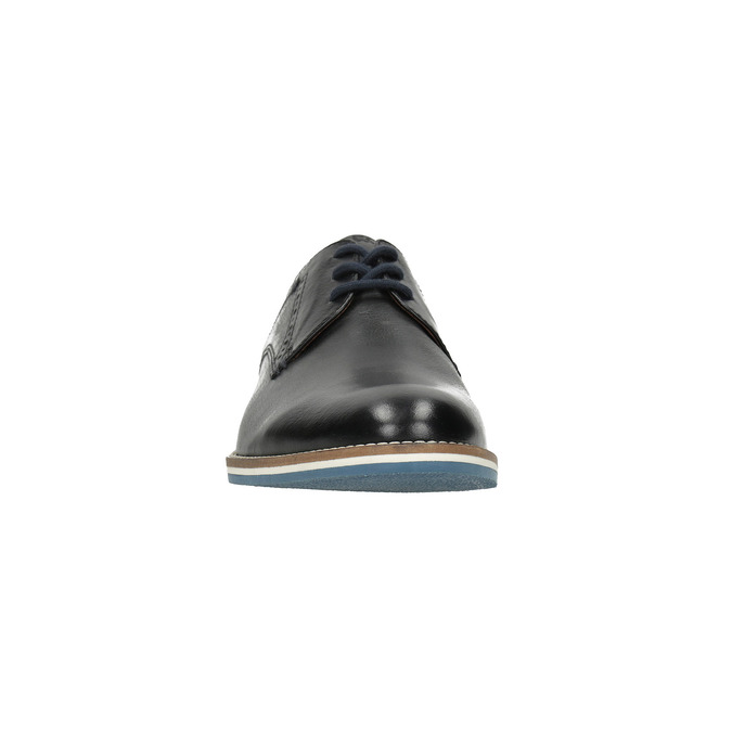 Kožené poltopánky s pruhovanou podošvou bata, čierna, 826-6790 - 18