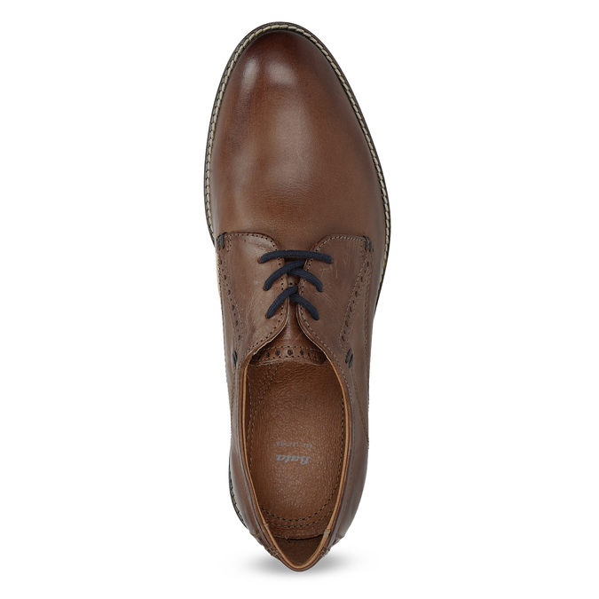Hnedé kožené poltopánky s pruhovanou podošvou bata, hnedá, 826-4790 - 17