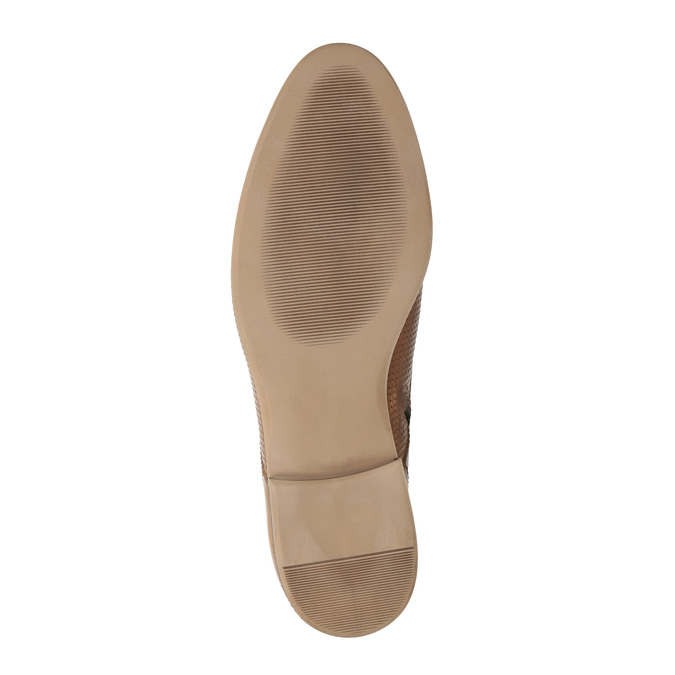 Kožená členková obuv s perforáciou bata, hnedá, 596-4645 - 26