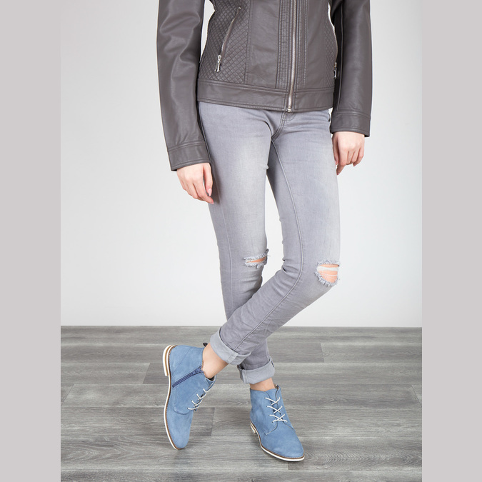 Kožená obuv nad členky bata, modrá, 593-9602 - 18