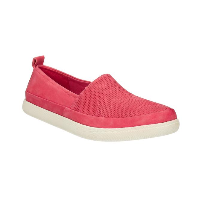 Kožená obuv s perforáciou bata-light, ružová, 516-5601 - 13