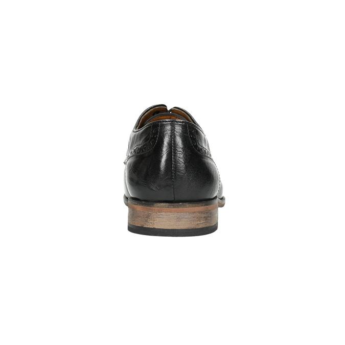 Kožené čierne poltopánky s Brogue zdobením bata, čierna, 826-6795 - 17