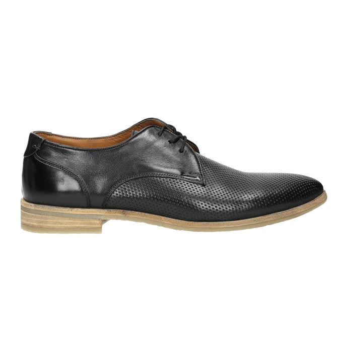 Čierne kožené poltopánky so svetlou podošvou bata, čierna, 824-6807 - 15