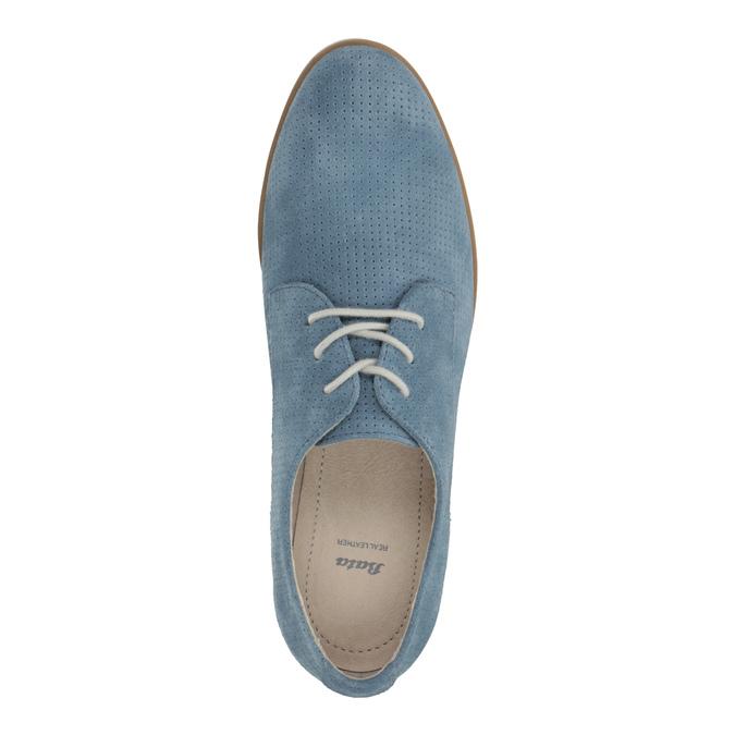 Modré kožené poltopánky bata, modrá, 523-9600 - 19
