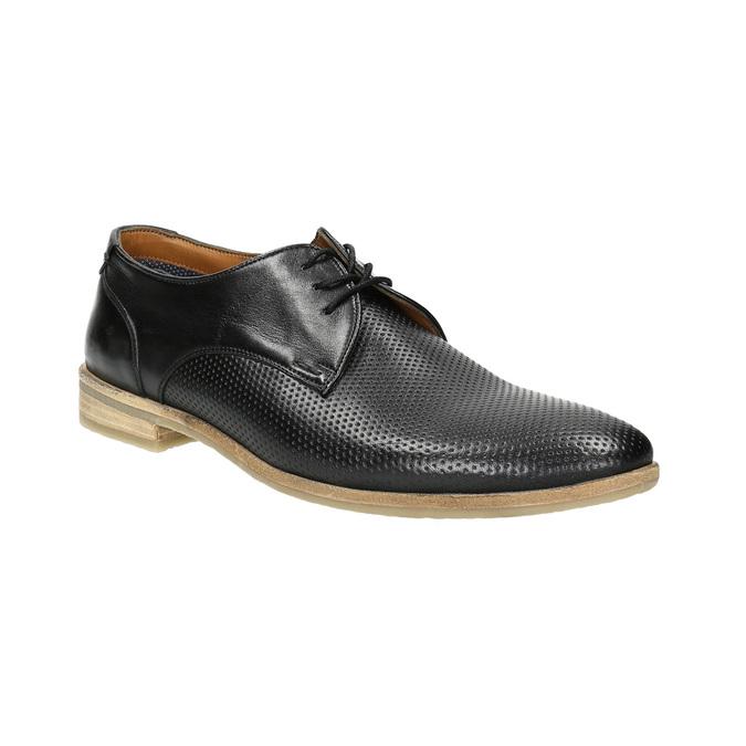 Čierne kožené poltopánky so svetlou podošvou bata, čierna, 824-6807 - 13