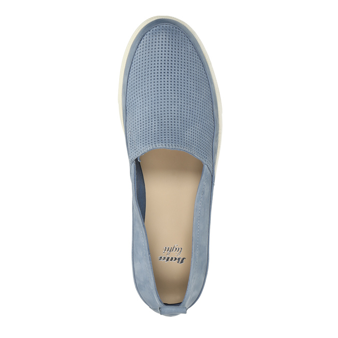 Dámska kožená obuv s perforáciou bata-light, modrá, 516-9601 - 19