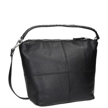 Kožená kabelka v Hobo strihu bata, čierna, 964-6121 - 13