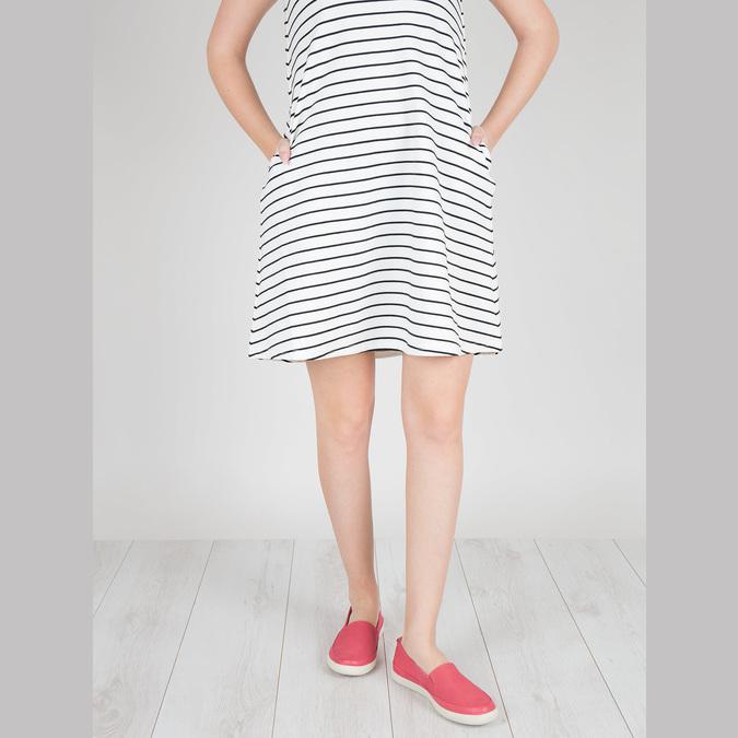 Kožená obuv s perforáciou bata-light, ružová, 516-5601 - 18