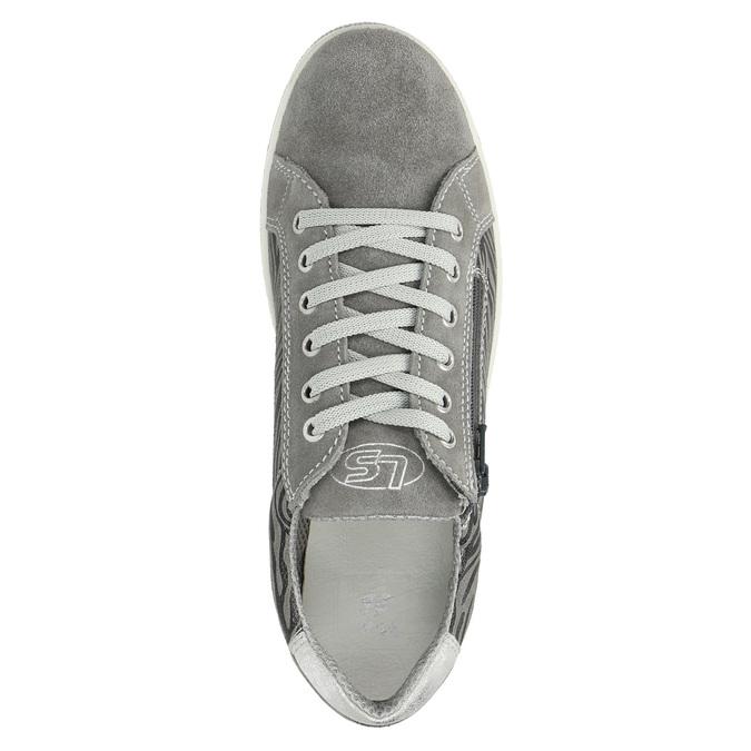 Detské kožené tenisky mini-b, šedá, 423-2600 - 19