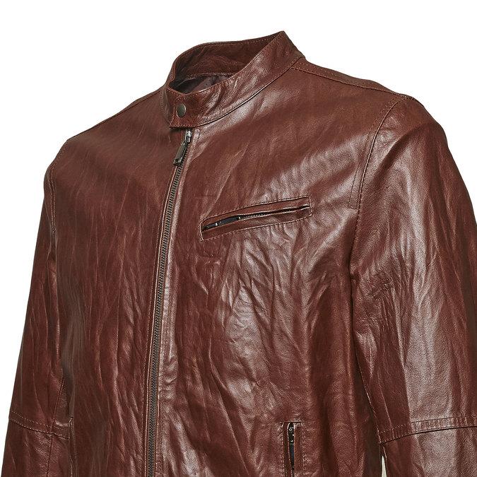 Dámska kožená bunda so štýlovým prešívaním bata, hnedá, 974-4142 - 16