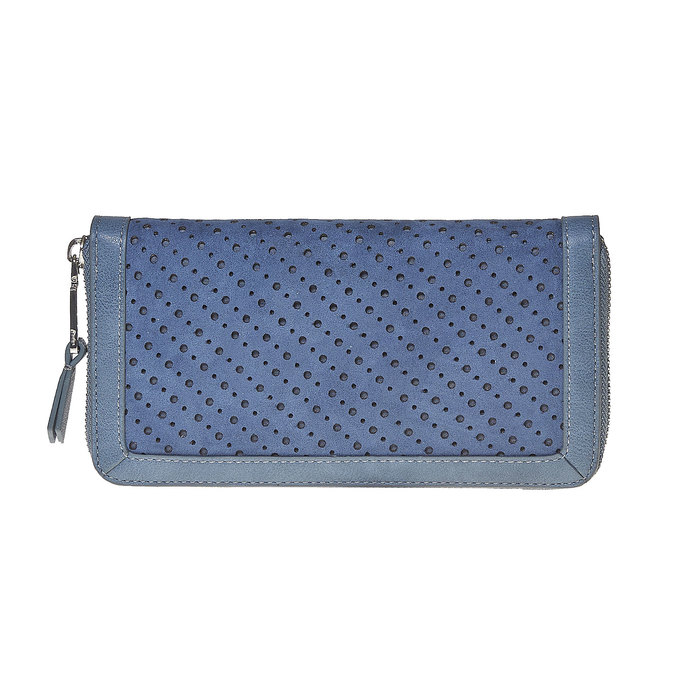 Modrá peňaženka s perforáciou bata, modrá, 941-9147 - 26