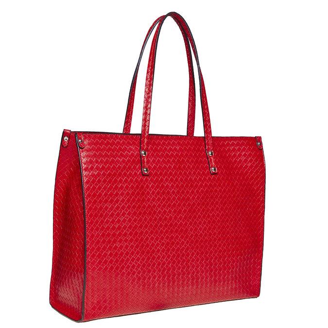 Červená kabelka s pleteným vzorom bata, červená, 961-5289 - 13