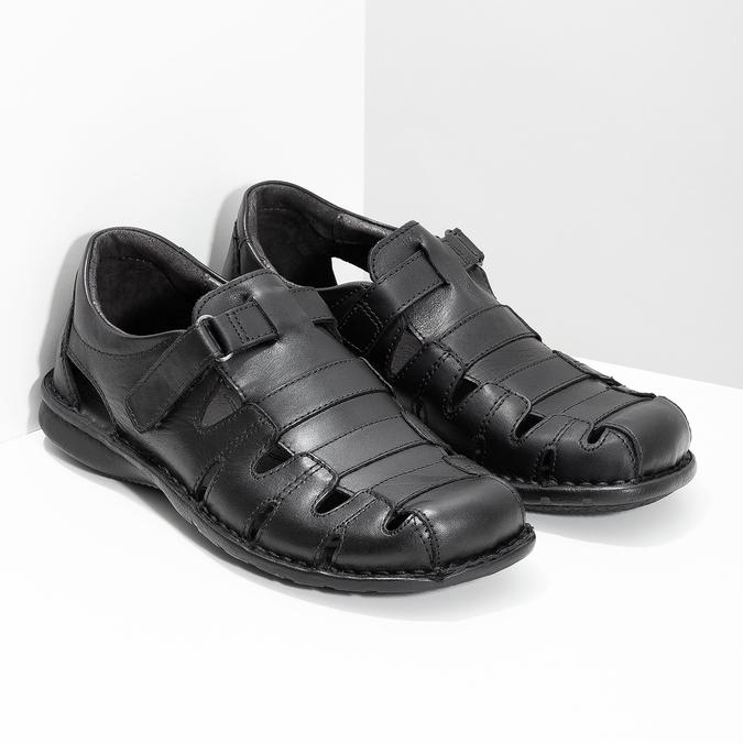 Pánske čierne kožené sandále bata, čierna, 864-6600 - 26