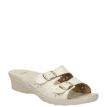 Dámska domáca obuv na podpätku bata, béžová, 579-8611 - 13